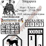sydney4today -Kode Syair Togel Singapura Kamis 25 April 2019